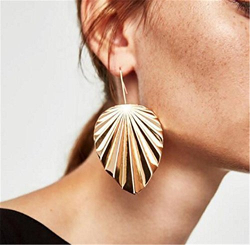 Fashionable Large Leaf Earrings Women Ear Jewelry Gold