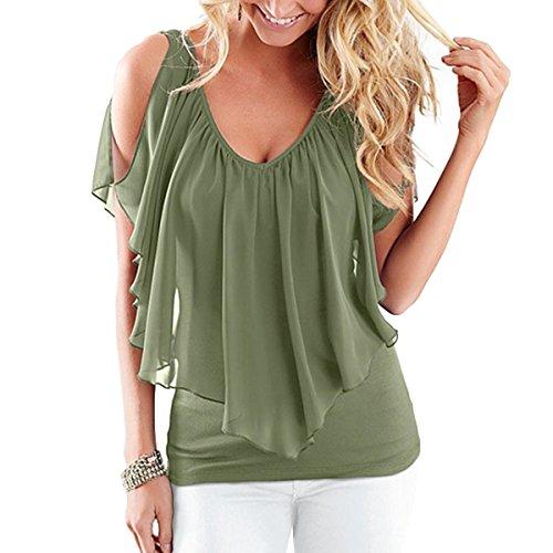 Tarmac Souris Mousseline en Shirt T Blouse Ray Shirt Froide Manches Volants Soie Femmes Color L De paule Size T Chauve 7CRqwwT