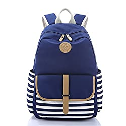 Lightweight Canvas Backpack Fashion School Bag Outdoor Travel Laptop Backpacks (AB0021-Blue-2)