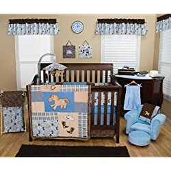 Trend Lab Nursery Room Cowboy Baby 4PC Crib Bedding Set Quilt, Bumper, Sheet, Skirt Ruffle