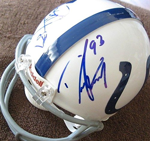 Reggie Wayne Signed Colts - Dwight Freeney Reggie Wayne autographed signed auto Colts mini helmet IN PERSON - Autographed NFL Mini Helmets
