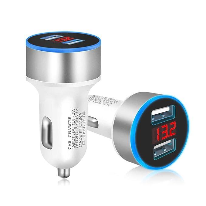 Luckycat Dual USB 12V-24V 3.1A teléfono móvil Cargador de Coche Adaptador de Pantalla LED de Carga rápida