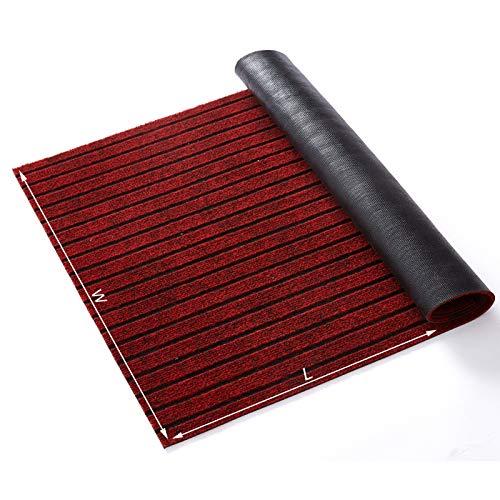 GAEA.TEX Extra Large Durable Heavy Duty Rubber Outdoor Doormat, 29x17 inches Indoor Waterproof Wearproof Easy Clean Striped Floor Door Mat for Entrance, Hallway, Kitchen, Patio, Wine Red