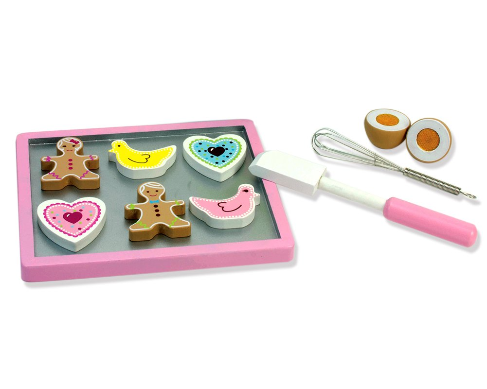 Childrens Wooden Play & Pretend Food Set, Cookie Baking Set with Cookies, Tray, Bowl, Mixer & More! Wood Play Food Cookie Baking Set by Sophia's (Image #4)
