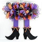 Witch Wreath Halloween | Halloween Witch Skirt Legs Mesh Front Door Outside Door Wreath with Bows