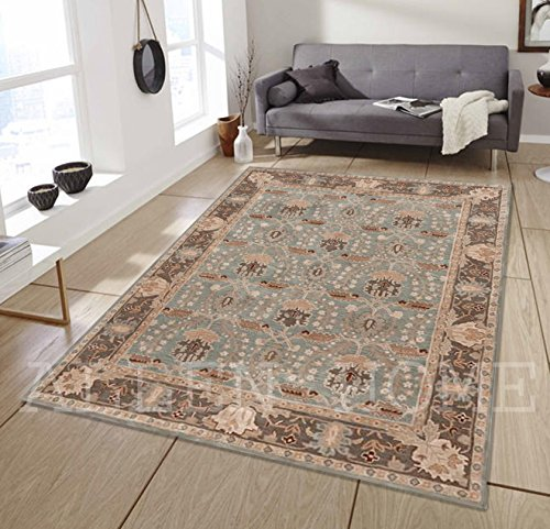 Allen Home Wool Rug 5'X8' Allie Porcelain Blue Tufted William Morris Art and Crafts Persian Traditional Wool Area Rug Carpet