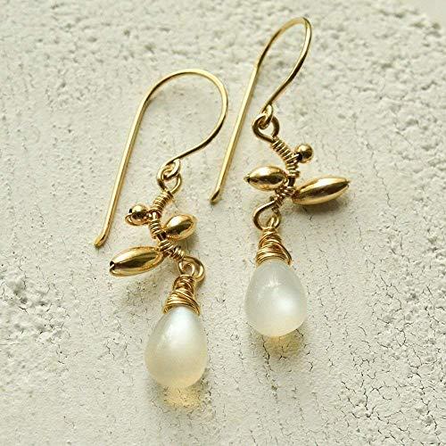 - White Moonstone Earrings Vine June Birthstone 14kt Gold-filled Ear Wires