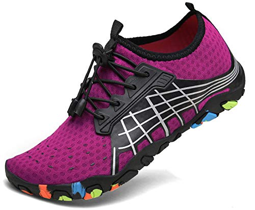 kealux Men Women Barefoot Quick-Dry Water Sports Shoes Multifunctional Sneakers -40(A.Pink)