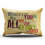 KEIBIKE Pillow Case Christian Bible Verse Quotes - Whatever You Do, Do It All For the Glory of God Personalized Rectangle Pillowcases Design Decorative Throw Pillow Covers Cases King 20x36 Inches