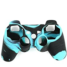 Lightning360 High Quality Premium Super Grip Glow Black Blue Silicon Protective Skin Case Cover for Sony Playstation PS3 Remote Controller