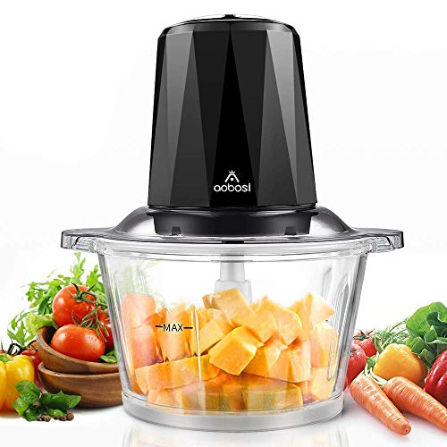Electric Food Chopper, Aobosi Food Processor with 1.8L BPA-Free Glass Bowl, Braking Function, 2 Speeds Control, 4 Stainless Steel Blades, 300W-Ideal for Meat, Vegetables, Fruits and Nuts