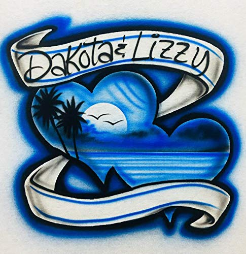 f9299460 Image Unavailable. Image not available for. Color: Airbrush T Shirt, Two  Hearts with Blue Beach Scene ...