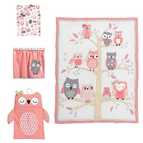 (Lambs & Ivy Family Tree Coral/Gray/Gold Owl 4 Piece Crib Bedding Set)