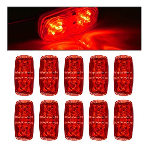 ACUMSTE 10pc Red 12V Double Bullseye Side Marker Lights 10 LED Trailer Marker Lights Bulls Tiger Eye Amber Trailer Clearance Light for RV, Trailers, Campers.4''x2'' (10 red) ()