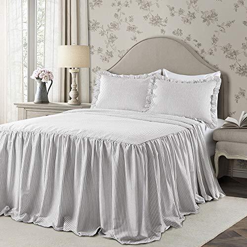 Lush Decor Gray Ticking Stripe Bedspread Shabby Chic Farmhouse Style Lightweight 3 Piece Set King (Stripe Ticking Pillows)