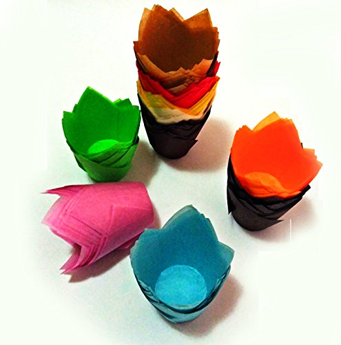 Sinrier 200 Count Tulip Baking Cups Cupcake Muffin Liner for Weddings, Birthdays, Baby Showers, Colourful and Natural