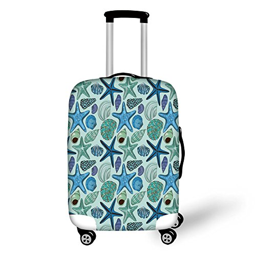 Travel Luggage Cover Suitcase Protector,Starfish Decor,Aquarium Inspired Composition Tropical Seashells Scallops Cockles Clams Decorative,Multicolor,for Travel