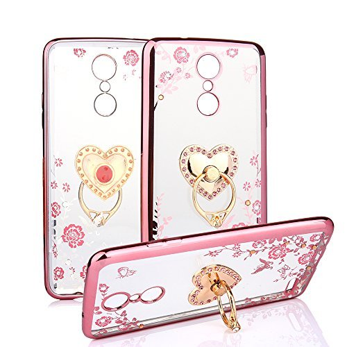 CaseHaven LG LV3, LG Aristo Case, Glitter Crystal Heart Floral Series – Slim Luxury Bling Rhinestone Clear TPU Case With Ring Stand For LG LV3/ LG Aristo MS210 – Rose Gold