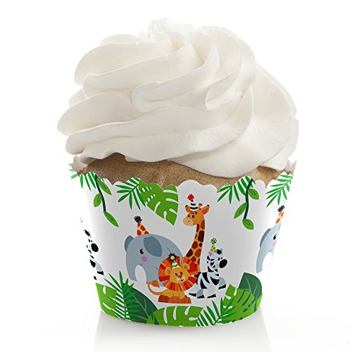 Jungle Party Animals - Safari Zoo Animal Birthday Party or Baby Shower Decorations - Party Cupcake Wrappers - Set of 12