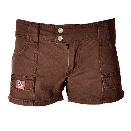 Molecule Women's Hardworking Hip-Huggers Mid Waist Short Brown Cargo Shorts | USA 2/S (Tag S) Dirt Brown