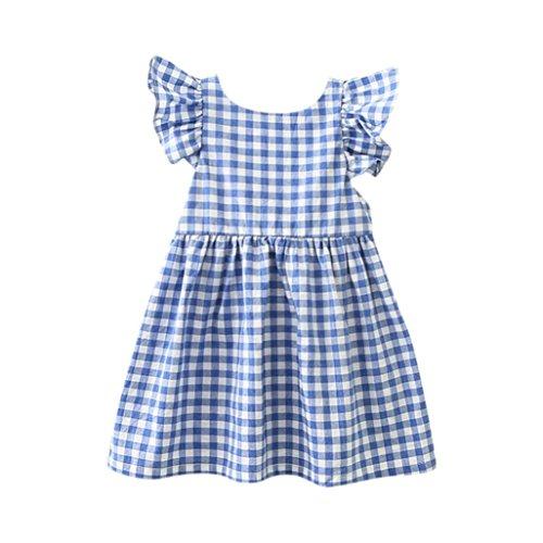 Willsa Baby Girls Dress, Kids Infant Toddler Floral Rabbit Sleeveless Ruffle Clothes Princess Dress (3T, Blue)