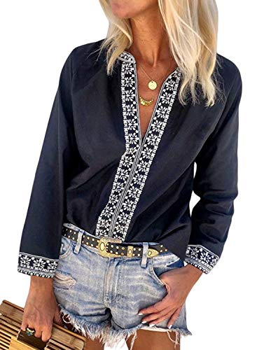 FARYSAYS Women's Sexy V Neck Boho Floral Long Sleeve Shirts Casual Blouses Tops Black Large