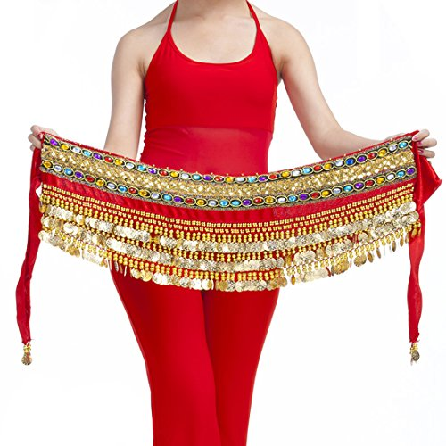 (Calcifer Handmade Egyptian Waist Chain Belly Dance Belt Wrap Hip Scarf Skirt Waistband with 248 Coins (Red, One Size) )
