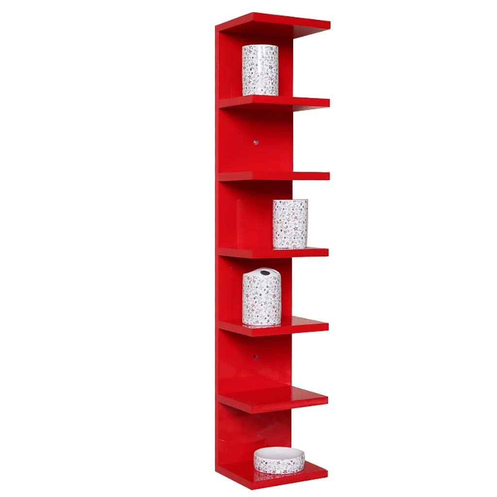 CDラック 壁掛けCDラックショーコーナー収納ラック本棚壁の装飾棚ディスプレイスタンド (Color : Red) B07TPMPY46 Red