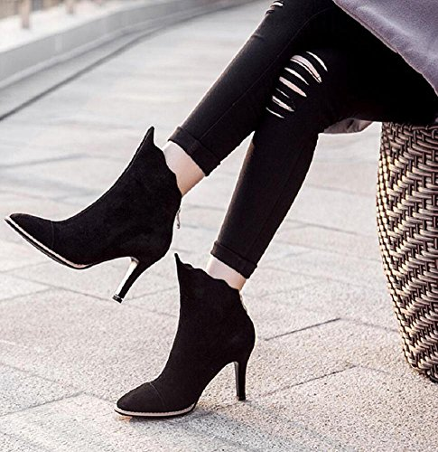 wdjjjnnnv Autumn And Winter Pointed Fine with High-heeled Ankle Boots Scrubs Elegant Slim Women boots Genuine Leather Short Bootie 37 h9XSE9o