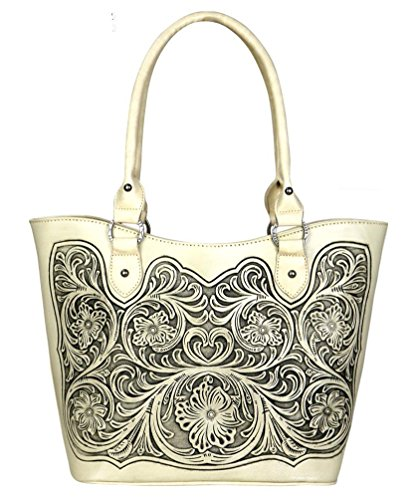 Montana West Trinity Ranch Tooled Leather Purse, Western Tote Style (Beige 2) (Tooled Western Purse)