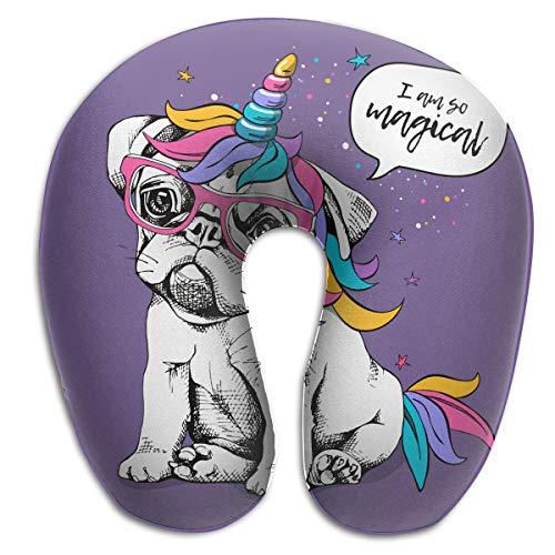 QWEDZ Puppy Bulldog in A Bright Colored Costume of A Unicorn Fashion Memory U Pillow Neck & Cervical Pillows ()