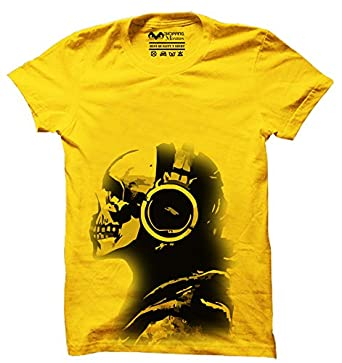 30b90aed56c65 Printing Geeks Men Music Skull Cotton T Shirt (Yellow