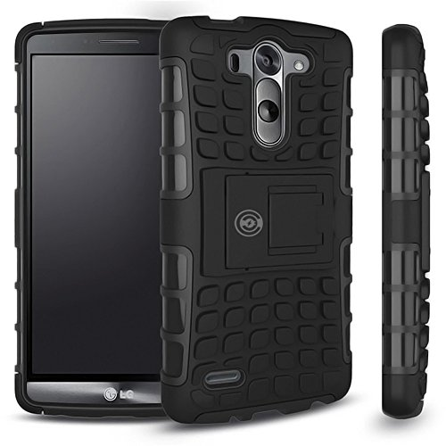 LG G3 Case, LG G3 Armor cases- Tough Armorbox Dual Layer Hybrid Hard/Soft Protective Case by Cable and Case - Black Armor Case