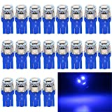 EverBright 20-Pack 194 Led Bulb Blue, T10 168 912 W5W 2825 LED Bulb for Car Interior Lights Dome Map Light Trunk Door Light Dashboard Bulb License Plate Light Lamp, 5050Chips 5SMD, DC 12V