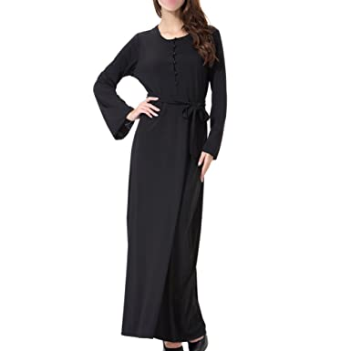 Hzjundasi Dubai Islamic Loose Dress with Belt Malaysia Kaftan Turkey Muslim Cocktail Long Sleeve Hindu Jewish