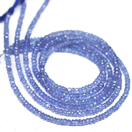 Gems-World Beads 3 Strand Natural Blue Tanzanite Faceted Rondelle Micro Gemstone Craft Loose Beads 13' 3mm Code:- VCCK-1133