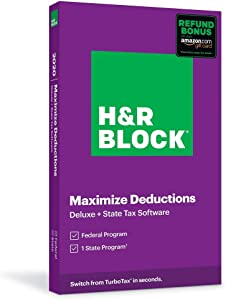 H&R Block Tax Software Deluxe + State 2020 with Refund Bonus (Amazon Exclusive) (Physical Code by Mail)