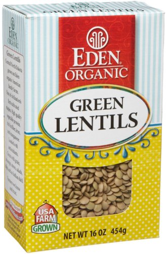 Organic Green Lentils Dry 16 Oz. -Pack of 12 by Eden