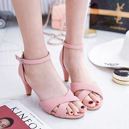 RAZAMAZA Mujer Mode Cross Strap Mini Tac¨®n Sandalias de Hebilla Rosado