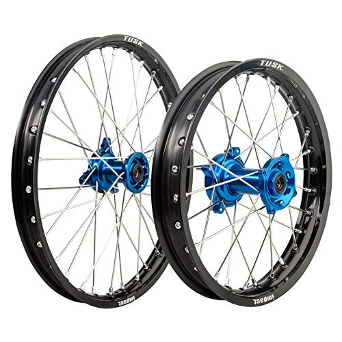 Tusk Impact Complete Front/Rear Wheel Kit 1.40 x 17/1.60 x 14 Black Rim/Silver Spoke/Blue Hub - Fits: Suzuki RM85 2002-2009