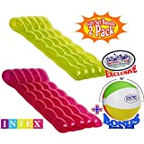 """Intex Color Splash Inflatable Lounge Mats (75"""" X 32"""") Pink & Green Complete Gift Set Bundle with Bonus """"Matty's Toy Stop"""" 16"""" Beach Ball - 2 Pack"""