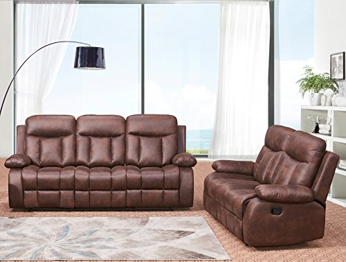 - Betsy Furniture 2-PC Microfiber Fabric Recliner Set Living Room Set in Brown, Sofa Loveseat Chair Pillow Top Backrest and Armrests 8028-32