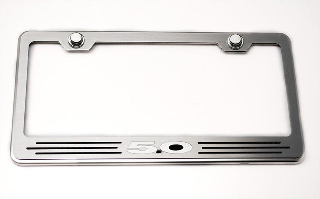 Ford 5.0 American Car Craft 272028-BRBLKS Brushed Black Solid Rear Tag Frame