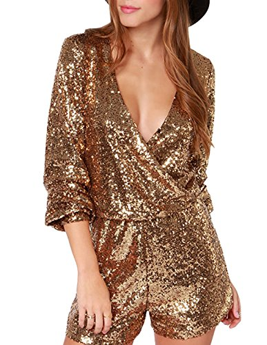 Richlulu Womens Sexy V Neck Shiny Sequin Wrap Long Sleeve Retro Disco Dancing Romper Jumpsuit (Medium, Gold)