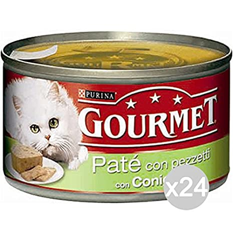 Purina Juego 24 Gourmet latas Conejo Gr 195 Pate Comida para Gatos