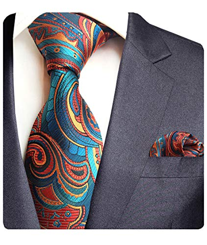 GUSLESON Brand New Silk Floral Tie and Pocket Square Set Mens Necktie for Party ()