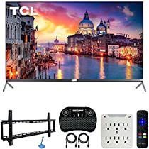 TCL 55R625 55-inch 6-Series 4K UHD HDR Roku Smart TV (2019 Model) Bundle with 37-70-inch Low Profile Wall Mount Kit, Deco Gear Wireless Keyboard and 6-Outlet Surge Adapter with Night Light