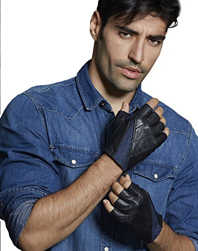 Fioretto Winter Mens Fingerless Driving Italian Leather Gloves Half Finger Cycling Gloves Unlined Blue L/XL ()