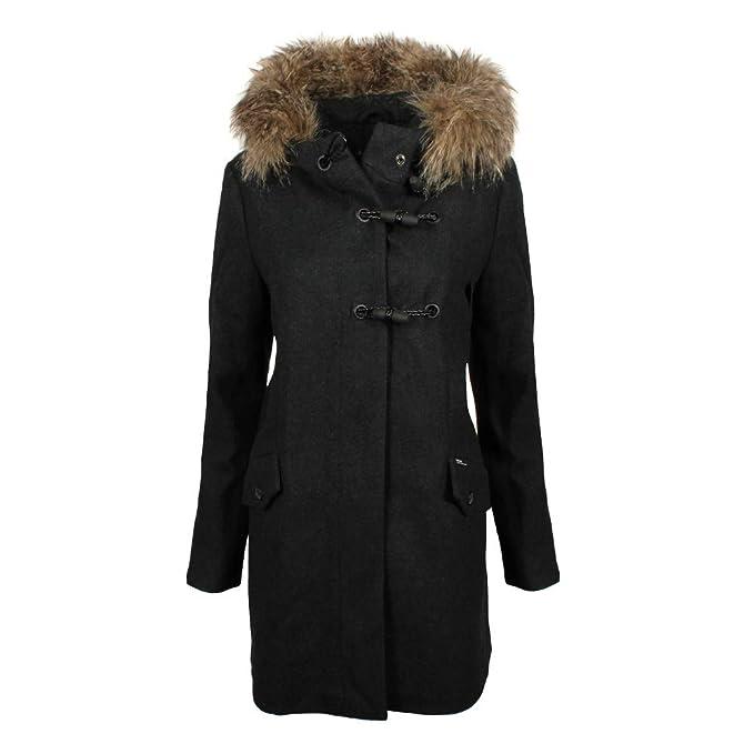 Khujo Mujer abrigo de lana Yuki gris oscuro: Amazon.es: Ropa y accesorios