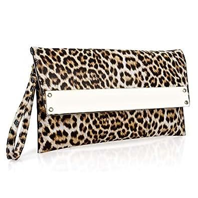 BMC - Cartera de mano de piel de poliuretano para mujer blanco Tan Leopard